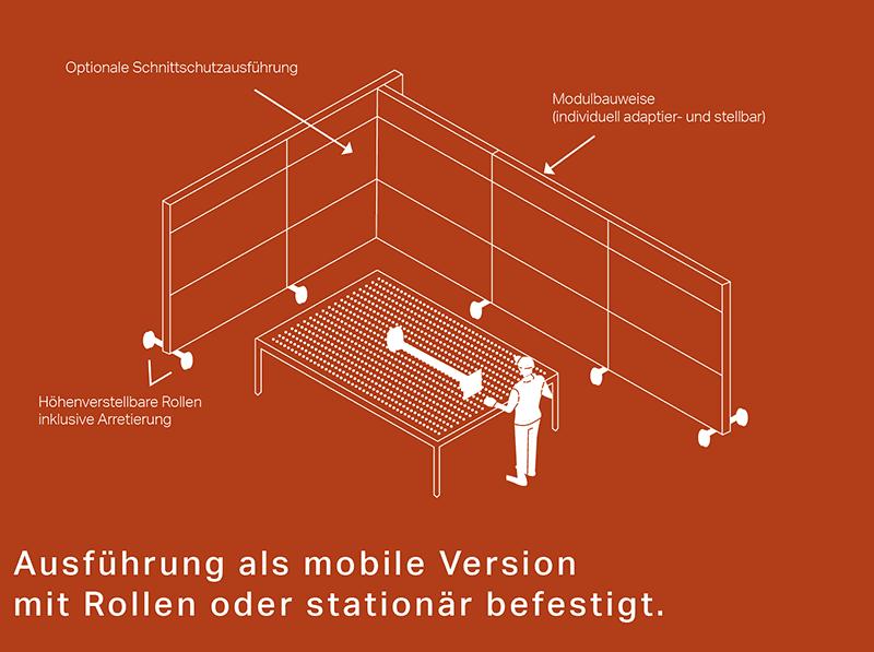 Ausführung als mobile Version mit Rollen oder stationär befestigt.